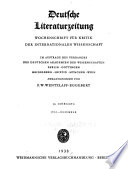 Deutsche Literaturzeitung, Wochenschrift für Kritik der Internationalen Wissenschaft