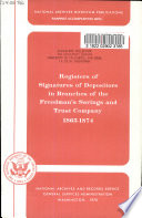 Registers of Signatures of Depositors in Branches of the Freedman s Savings and Trust Company  1865 1874