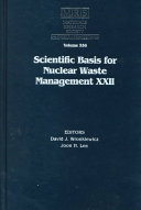 Scientific Basis for Nuclear Waste Management XXII  Volume 556