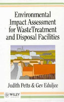 Environmental Impact Assessment For Waste Treatment And Disposal Facilities Book PDF