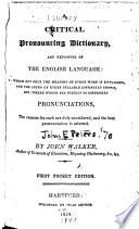 A Critical Pronouncing Dictionary