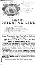 Luzac s Oriental List and Book Review