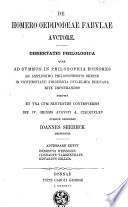 De Homero Oedipodeae fabulae auctore