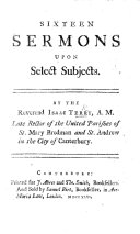 Sixteen Sermons Upon Select Subjects