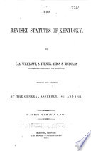 The Revised Statutes of Kentucky