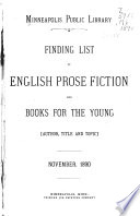 Finding List of English Prose Fiction and Books for the Young