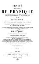 Traité élémentaire de physique expérimentale et appliquée et de météorologie...