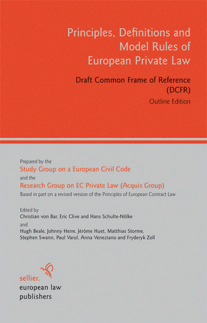 Principles  Definitions and Model Rules of European Private Law