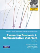 Cover of Evaluating Research in Communicative Disorders