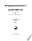 Proceedings of the Symposium on Shallow Foundations, December 1970, at I.I.T. Bombay
