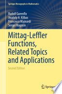 Mittag Leffler Functions  Related Topics and Applications Book