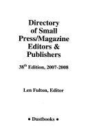 Directory Of Small Press Magazine Editors Publishers 2007 2008