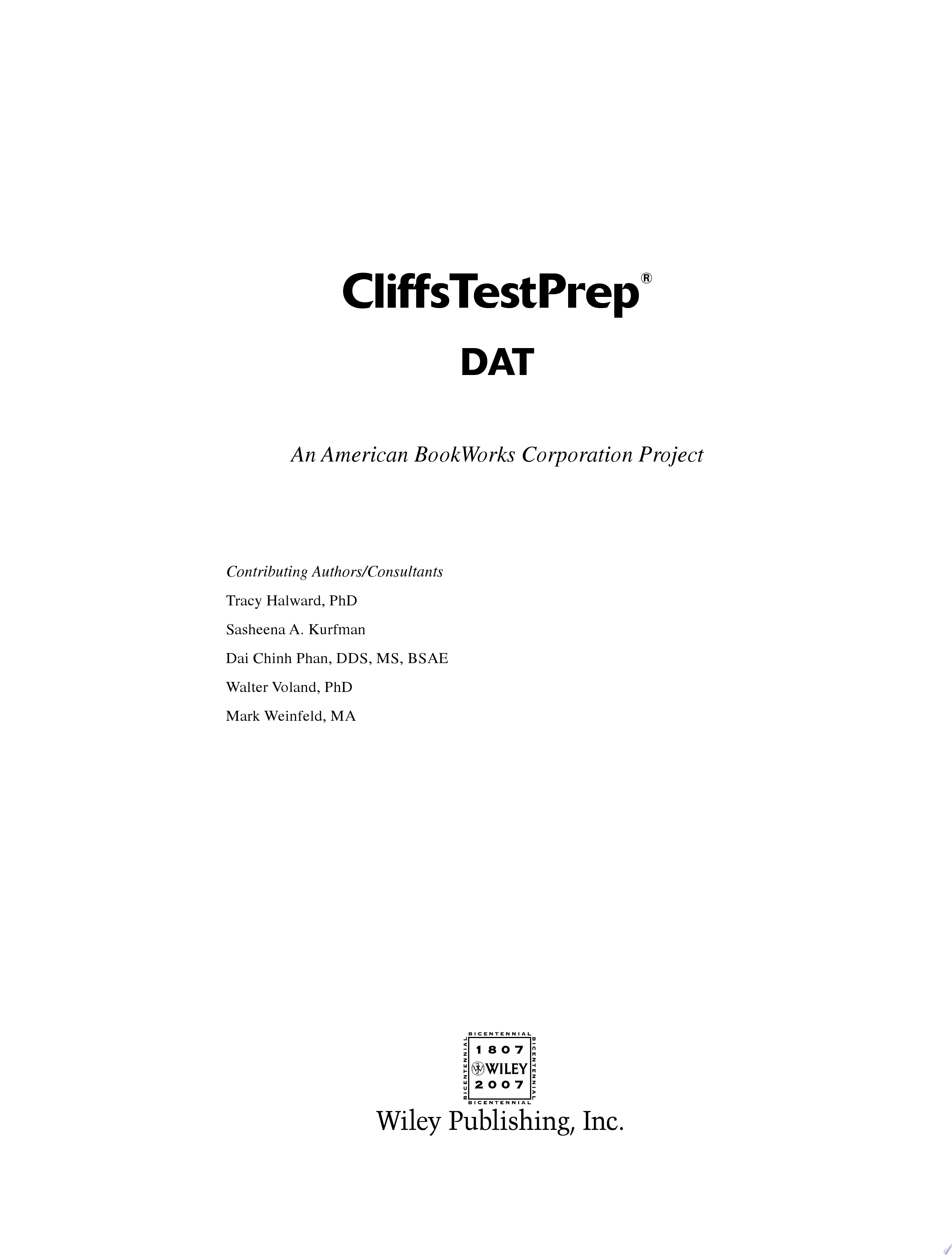 CliffsTestPrep Dental Admission Test  DAT