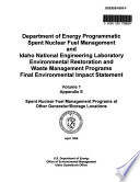 Programmatic National Spent Nuclear Fuel Management Program and Idaho National Engineering Laboratory Environmental Restoration and Waste Management Program  ID CA WA NV