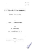 Paper   Paper Making  Ancient and Modern