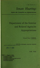 Department of the Interior and Related Agencies Appropriations for Fiscal Year 1993  Department of Agriculture