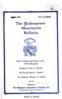 The Shakespeare Association Bulletin Book PDF