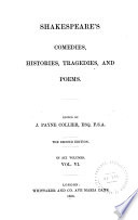 Othello  Antony and Cleopatra  Cymbeline  Pericles  Venus and Adonis  Rape of Lucrece  Sonnets  Lover s complaint  Passionate pilgrim  Phoenix and turtle  Indicial glossary Book
