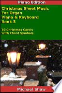 Piano  Christmas Sheet Music For Organ Piano   Keyboard Book 3