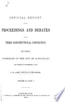 Official Report of the Proceedings and Debates of the Third Constitutional Convention of Ohio Book