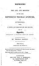 Memoirs of the life and ministry of the late Reverend Thomas ...