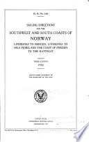 Sailing Directions for the Southwest and South Coasts of Norway Book