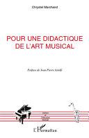 Pour une didactique de l'art musical