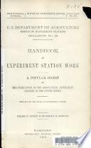 Handbook Of Experiment Station Work