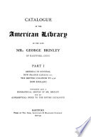 Catalogue Of The American Library Of George Brinley By J H Trumbull Special Ed