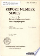 Report Number Series Used By The Technical Information Service In Cataloging Reports