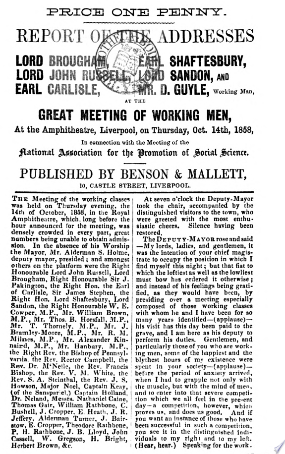 Report of the Addresses of Lord Brougham  Lord John Russell  Earl Carlisle  Earl Shaftesbury  Lord Sandon  and Mr  D  Guyle
