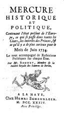 Mercure historique et politique contenant l'état présent de l'Europe