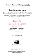 A Pocket-dictionary of the English and German Languages