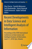 Recent Developments In Data Science And Intelligent Analysis Of Information Book PDF