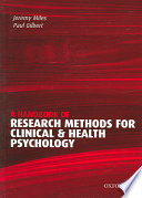 A Handbook of Research Methods for Clinical and Health Psychology Book