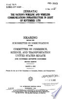 The Nation S Wireline And Wireless Communications Infrastructure In Light Of September 11th
