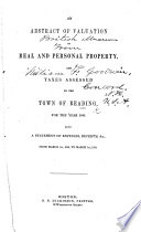 An Abstract of valuation of real and personal property and taxes assessed in the town of Reading for the year 1840 (1850, 1860).