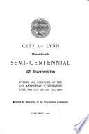 City of Lynn  Massachusetts Semi centennial of Incorporation