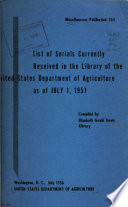 U S Department Of Agriculture Miscellaneous Publication
