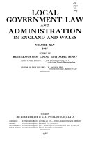 Local Government Law And Administration In England And Wales