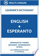 English Esperanto Learner s Dictionary  Arranged by Themes  Beginner   Intermediate Levels