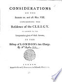 Considerations on the Statutes 21  and 28  Hen  VIII  Concerning the Residence of the Clergy