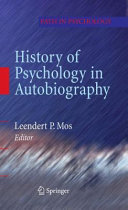 Pdf History of Psychology in Autobiography Telecharger