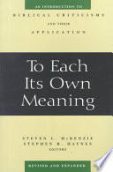 To Each Its Own Meaning