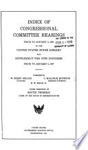 Index of Congressional Committee Hearings