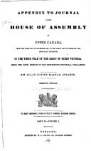 Appendix to Journal of the House of Assembly of Upper Canada