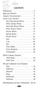 Grain And Oil Seed Crop Varieties For Montana