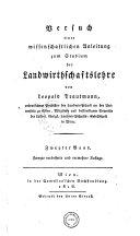 Versuch einer wissenschaftlichen Anleitung zum Studium der Landwirthschaftslehre. 2. verb. und verm. Aufl