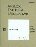 American Doctoral Dissertations 2004 2005 Book