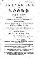 A Catalogue of Books for 1797     Which will be sold     by John Binns